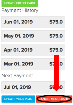 Cancel Membership button and view Payment history