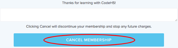 Confirm membership cancelation button