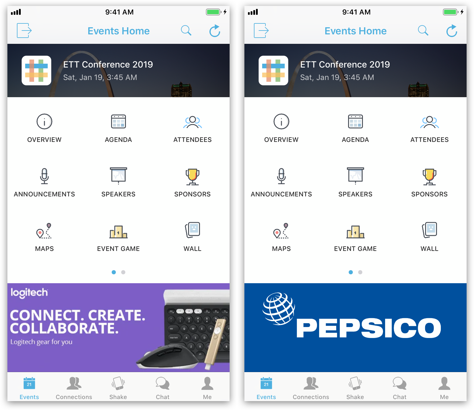 Two screenshots showing an app with Banners at the bottom.