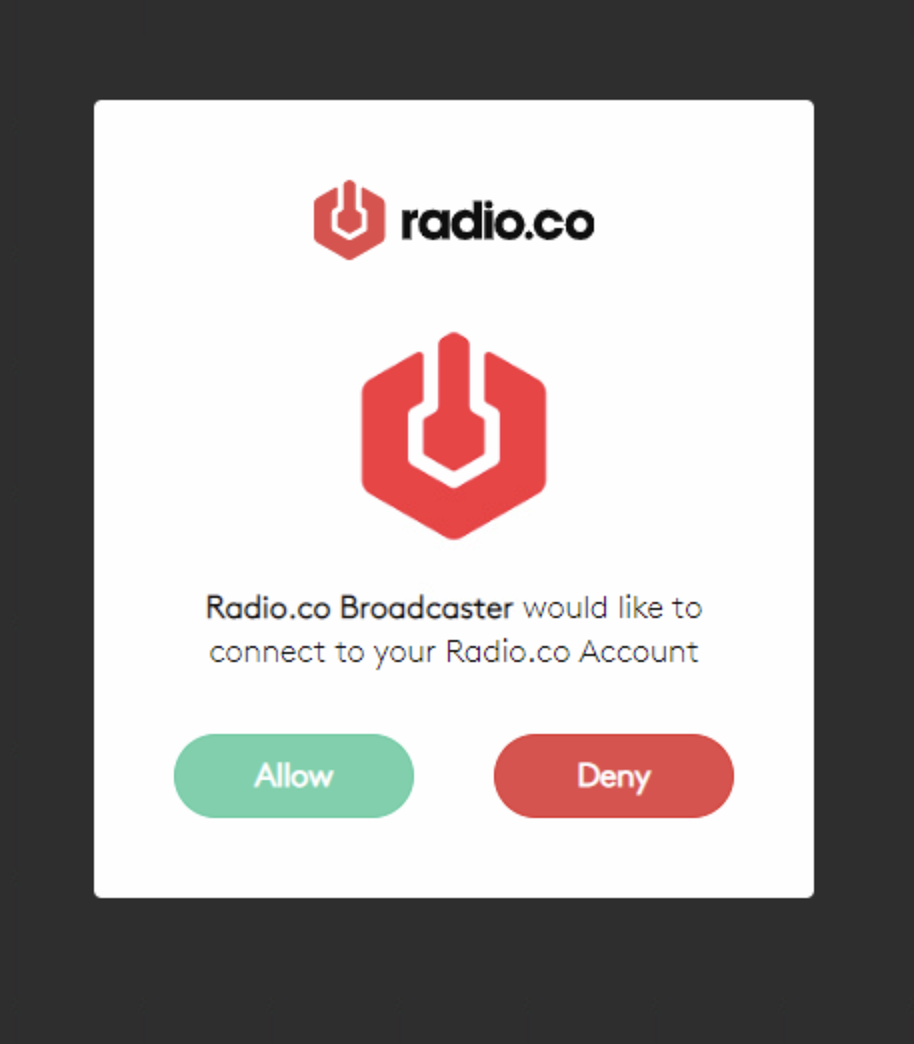 Allowing access to your Radio.co account.