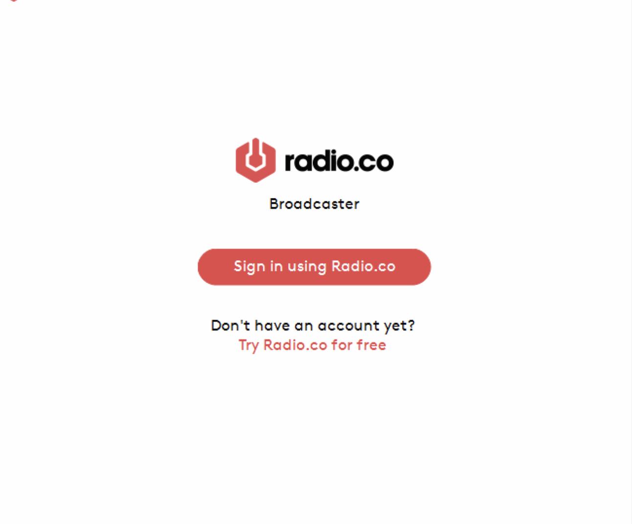 Radio.co Broadcaster login screen.