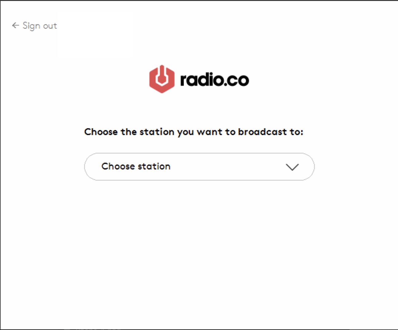 Choosing a Radio.co station.