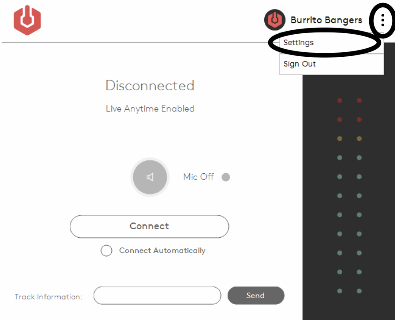 Selecting the settings in the Radio.co Broadcaster.