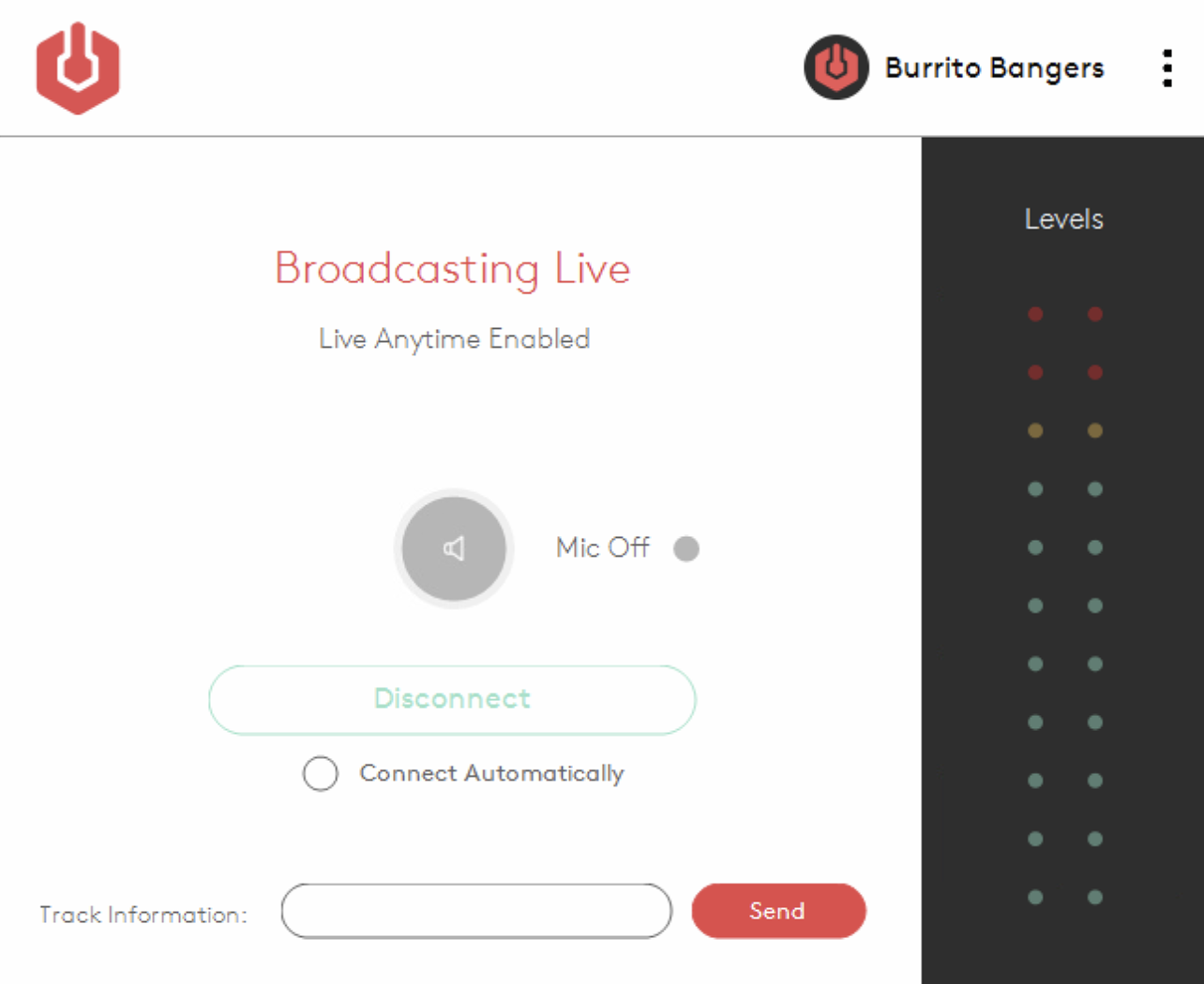 Broadcasting live using the Radio.co Broadcaster.