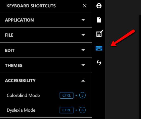 Shortcuts tab