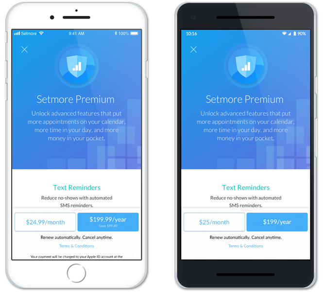 The Setmore Premium card on the mobile apps