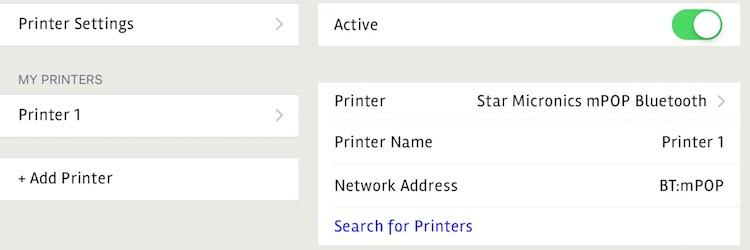 posBoss Printer Settings - Bluetooth
