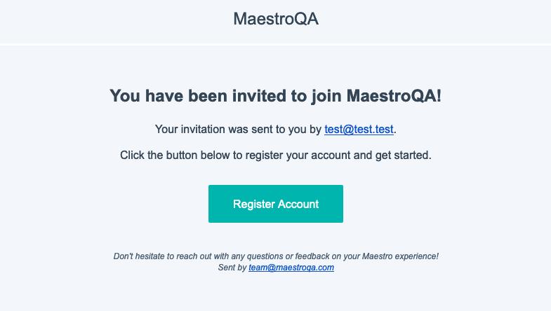 maestroqa invite