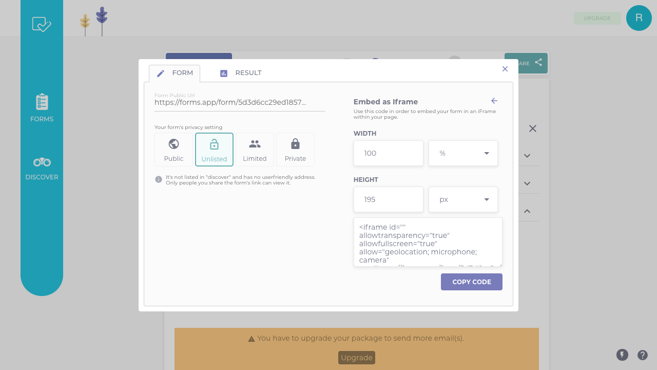Embed your form on Website.