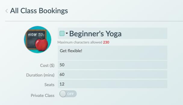 An overview menu of a new class