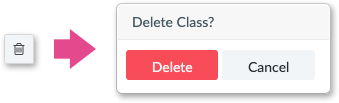 A delete class confirmation message