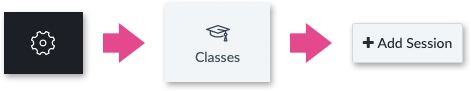 Settings, Classes and Add Session icons in the web app
