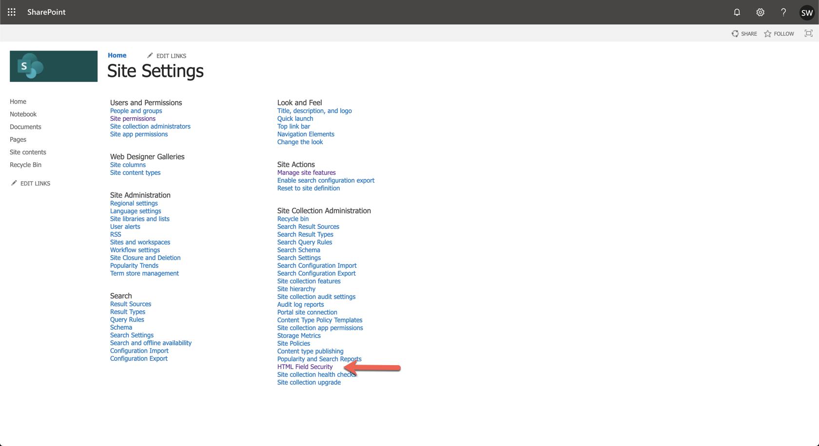 Ardoq SharePoint settings