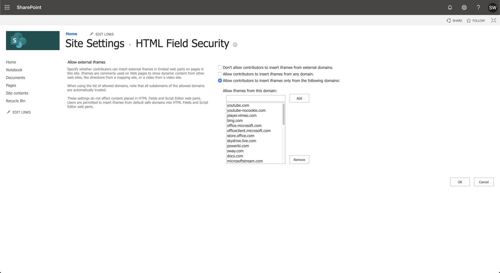 Ardoq SharePoint html field security