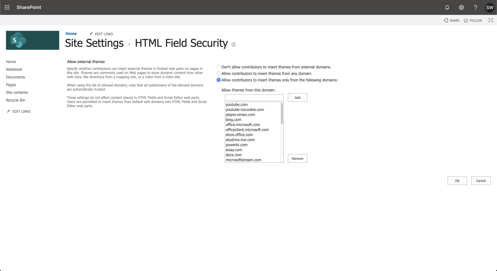 Ardoq SharePoint html field security