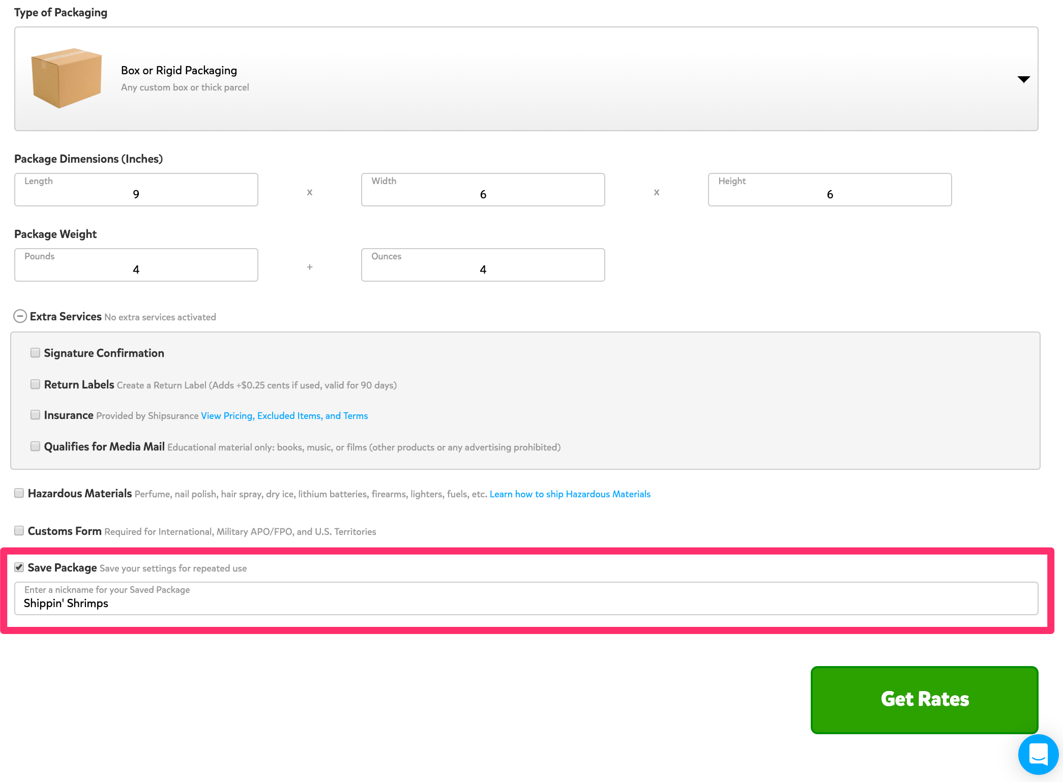 A screenshot showing the 'Create A Shipping Label Page' towards the bottom under where the packaging details are entered. At the bottom of the form, a section is highlighted where you can check to 'Save Package,' and enter a name for the package.