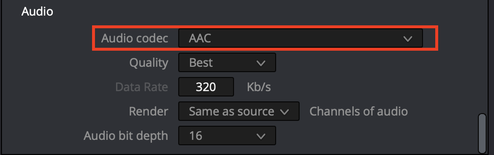 Set audio to AAC