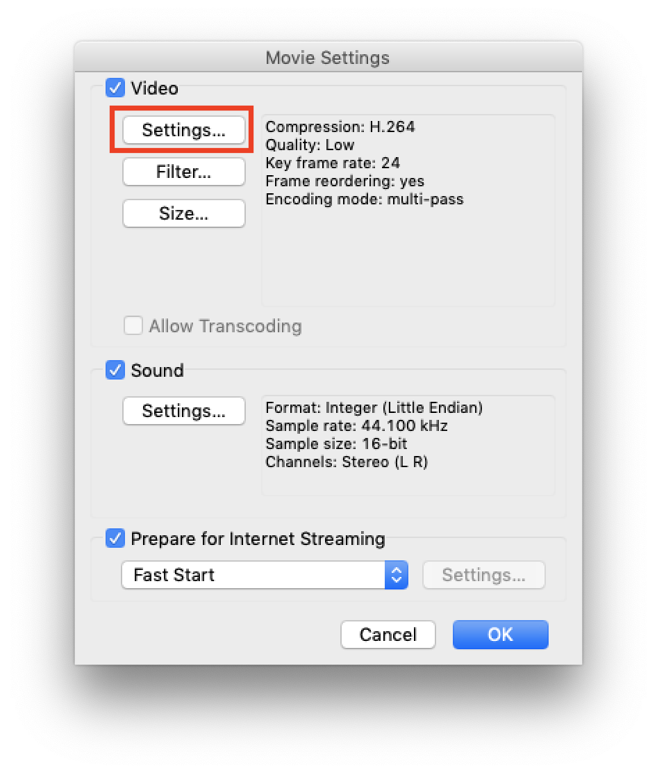 """Click """"Settings"""" to set to low quality"""