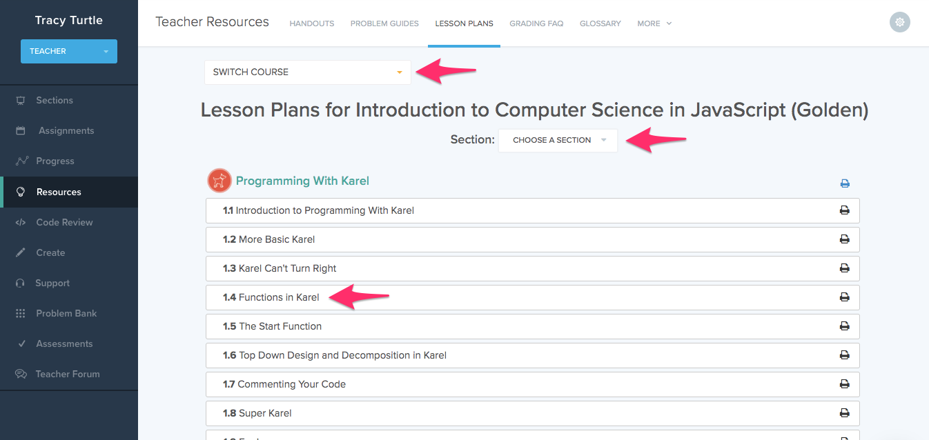 arrows point to drop down menus labeled switch courses and switch sections on page titled Lesson Plans