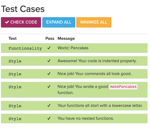 Image showing Test Cases and Check Code