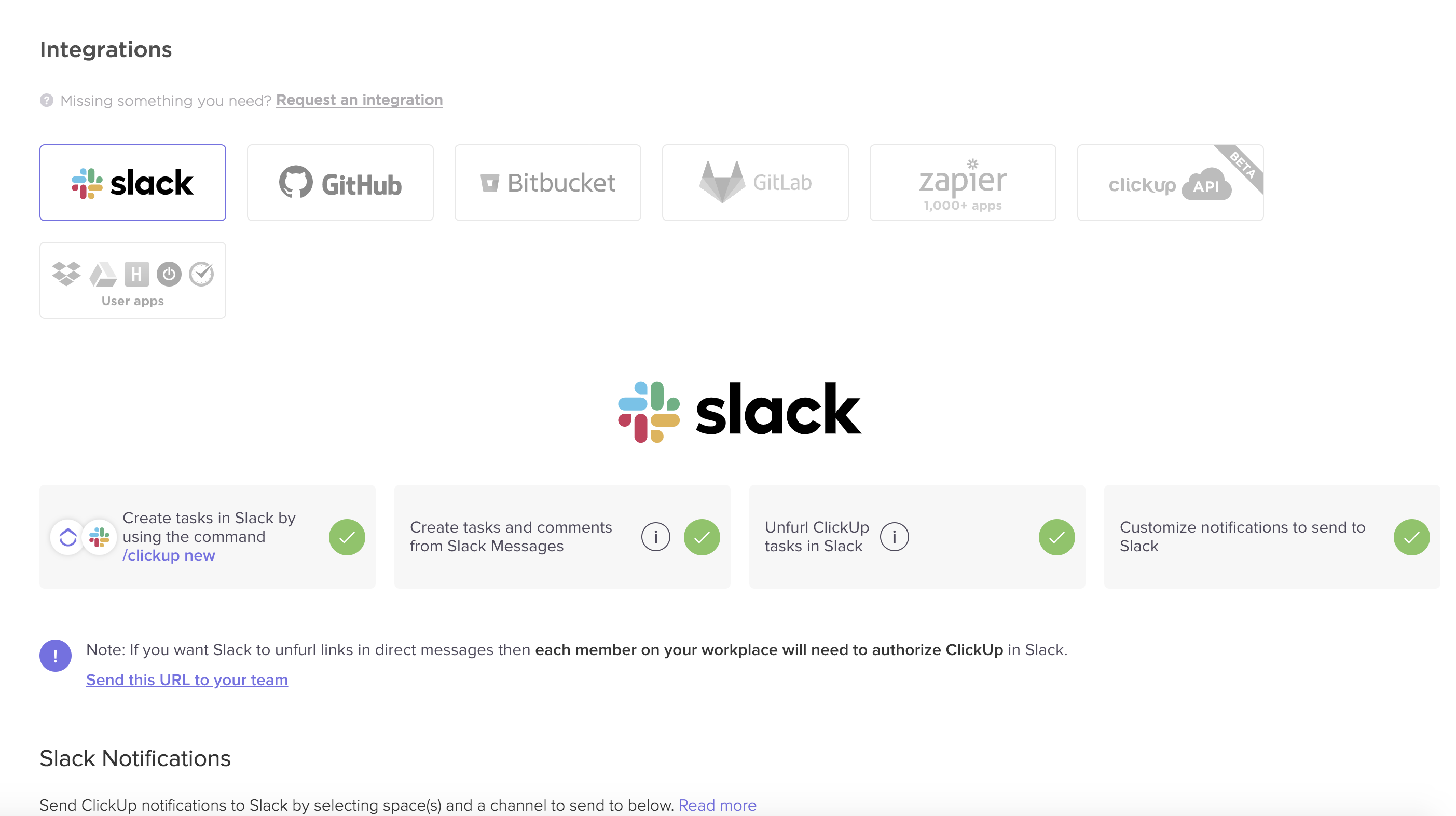 what the integrations page looks like in ClickUp for integrating Slack
