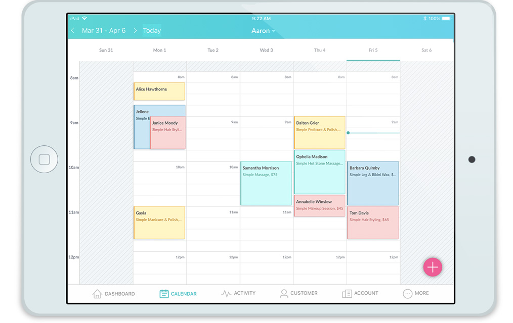 The Setmore Calendar as viewed on an iPad
