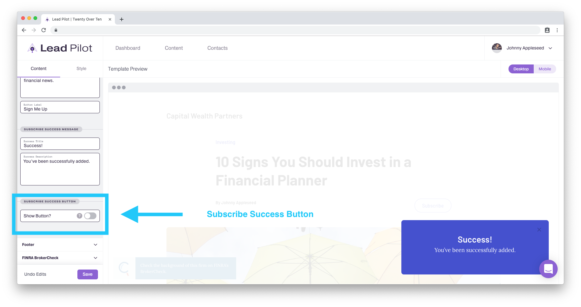 Customize landing page