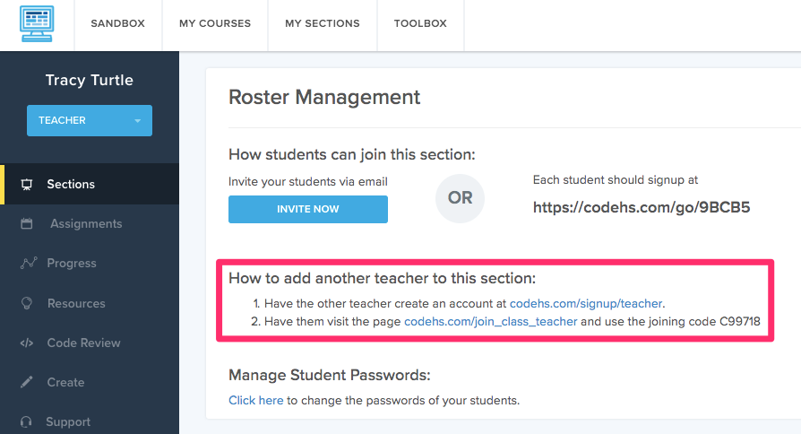 Under Roster Management section are the instructions to add a co-teacher