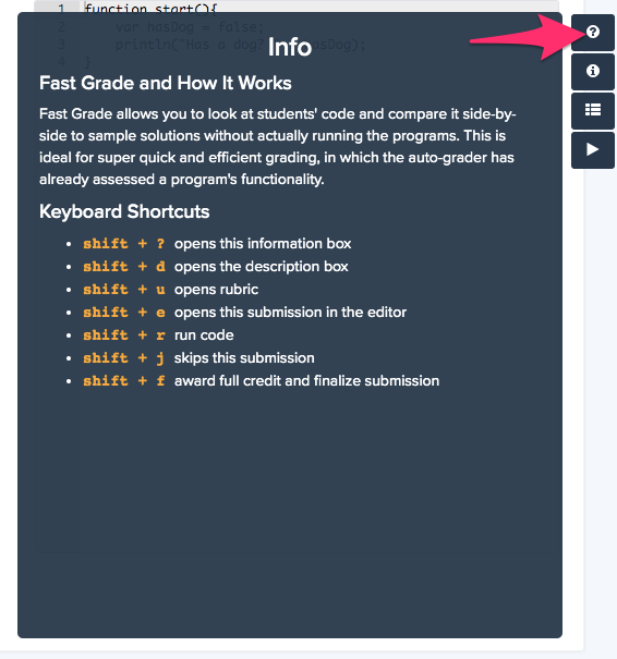 Click question mark icon for information about Fast Grade and keyboard shortcuts