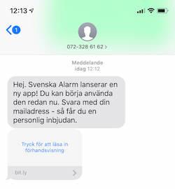 Svenska Alarm sms till kunder