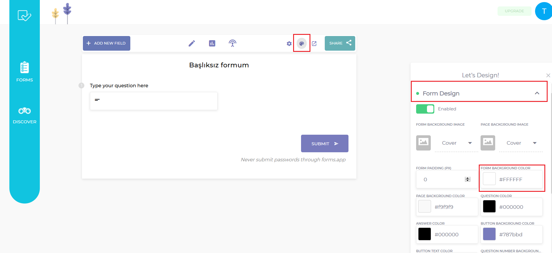 Edit Forms Background