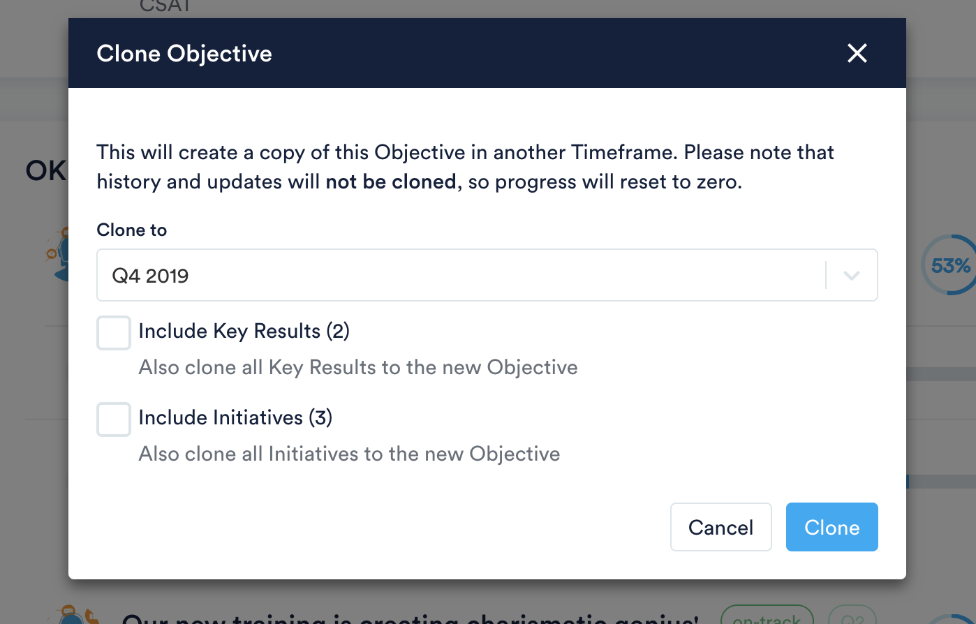 Clone Objective to certain timeframe with option to include Key Results and Initiatives