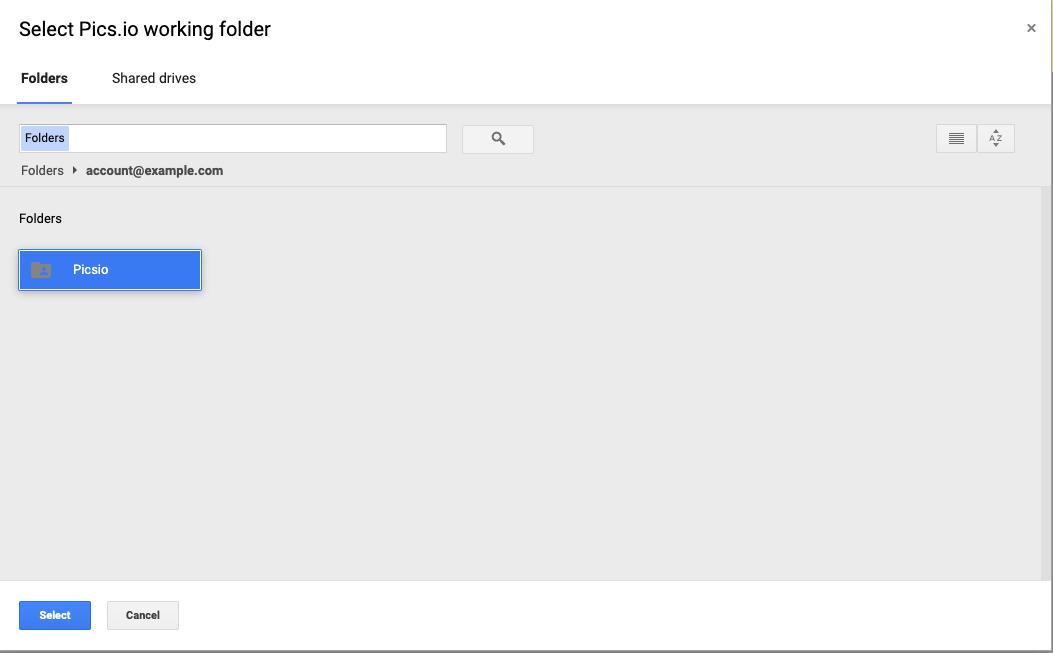 Selecting Pics.io working folder