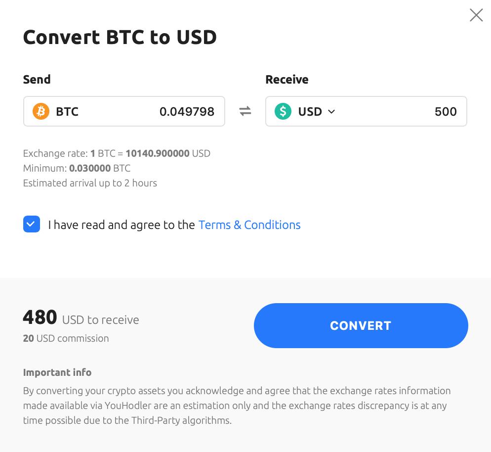 screenshot of how to convert BTC to USD
