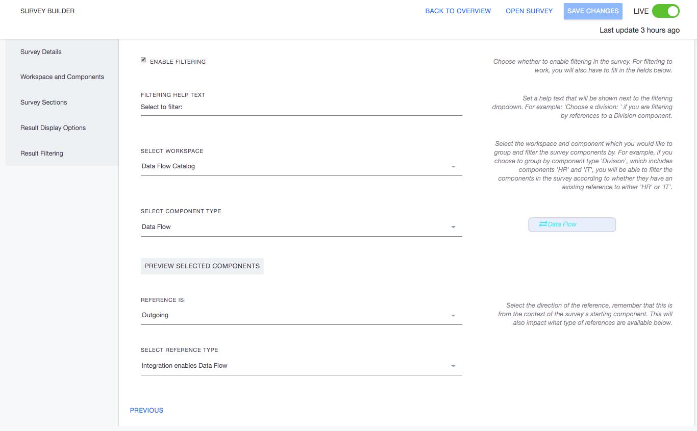 Ardoq result filtering in survey builder