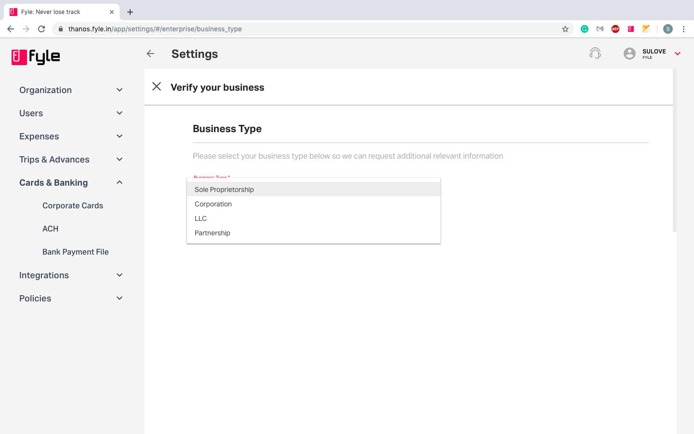 business type details under ACH
