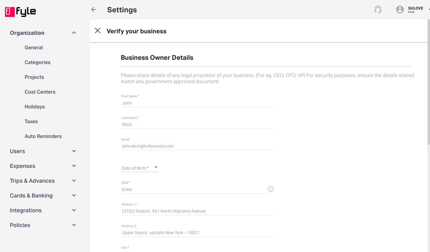 business owner details under ACH