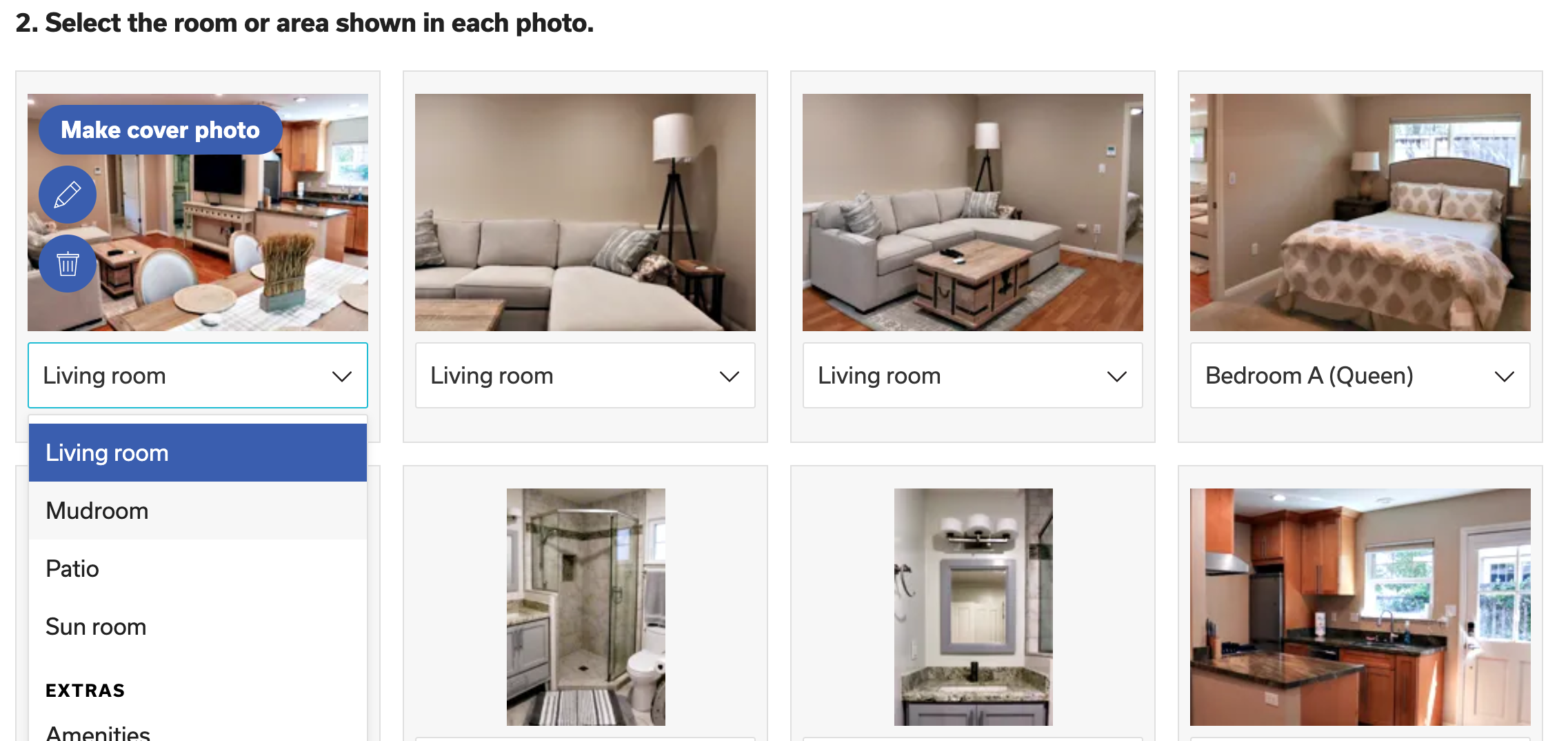Select the bedroom for each photo