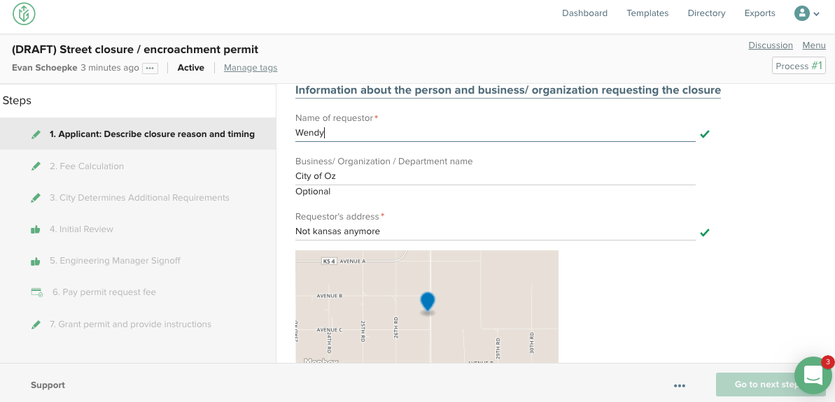 citygrows workplow applicant test example