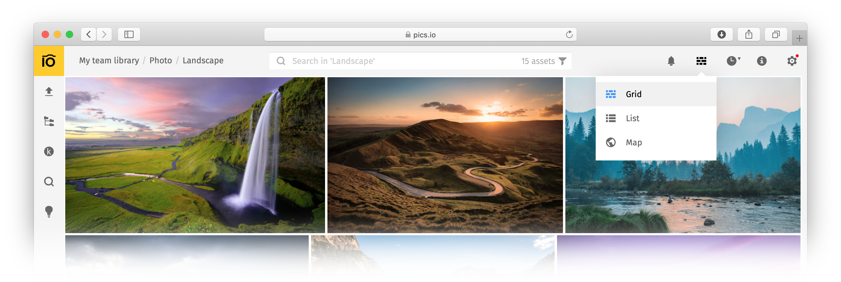 Grid view mode