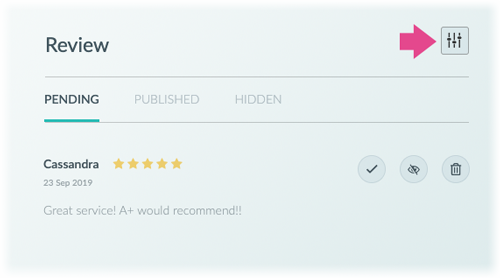 Clicking the Review settings icon to deactivate reviews