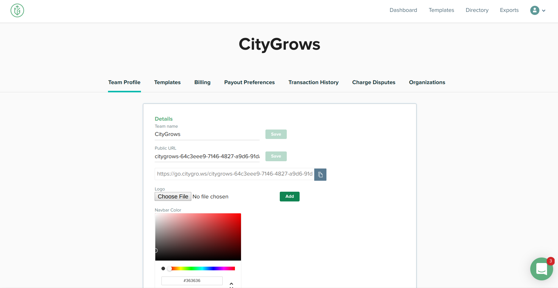 CityGrows team profile page