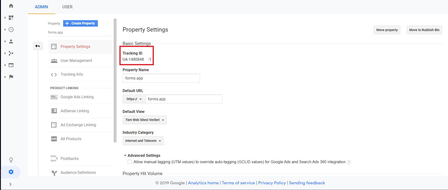 Add Google Analytics Code to Form - tracking id