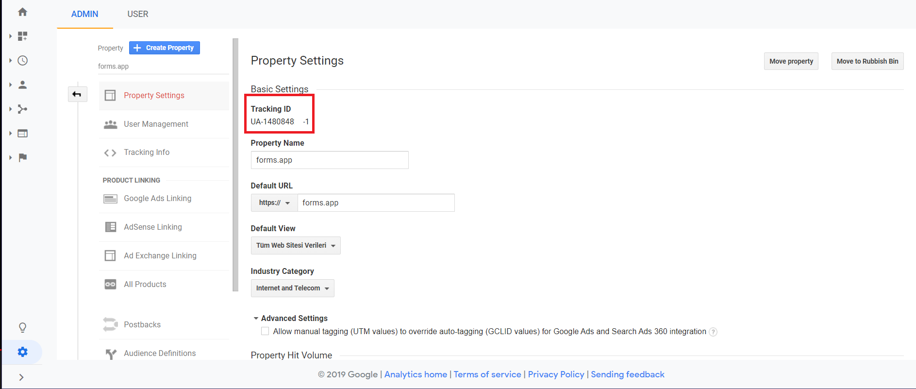 Add Google Analytics Code to Form - tracking id