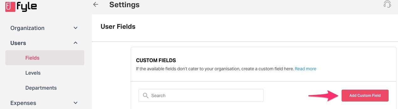 user fields in the settings