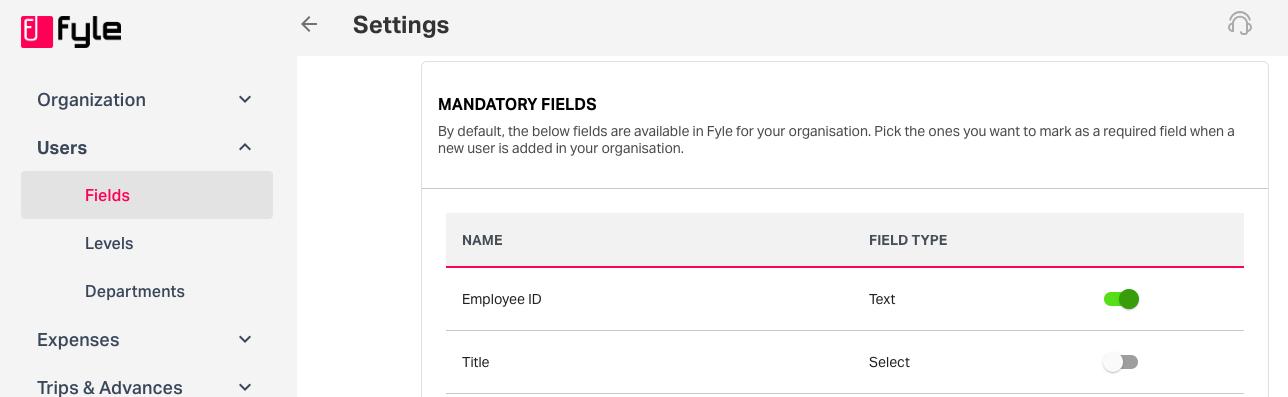 user fields settings