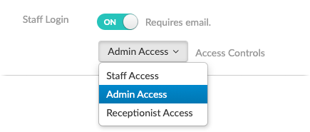The access controls drop-down in the web app