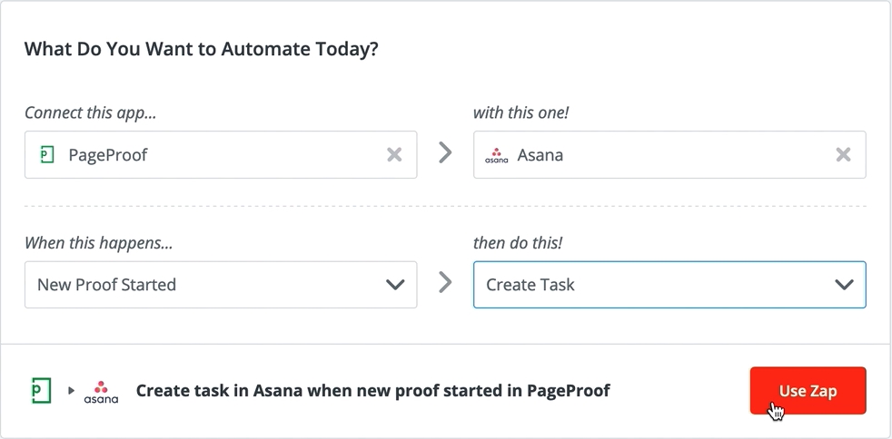 Connect PageProof with your preferred tool in Zapier