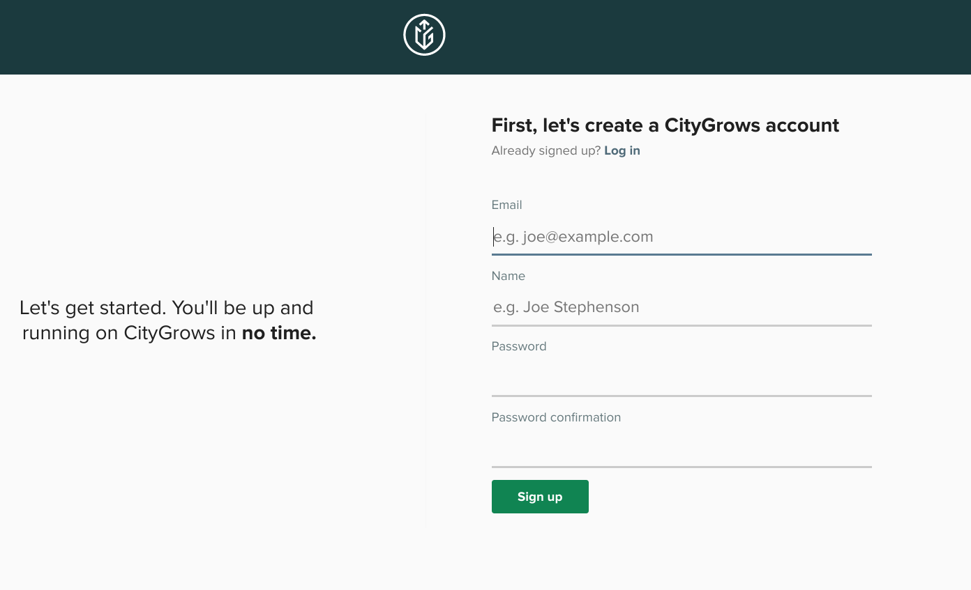 CityGrows create account page