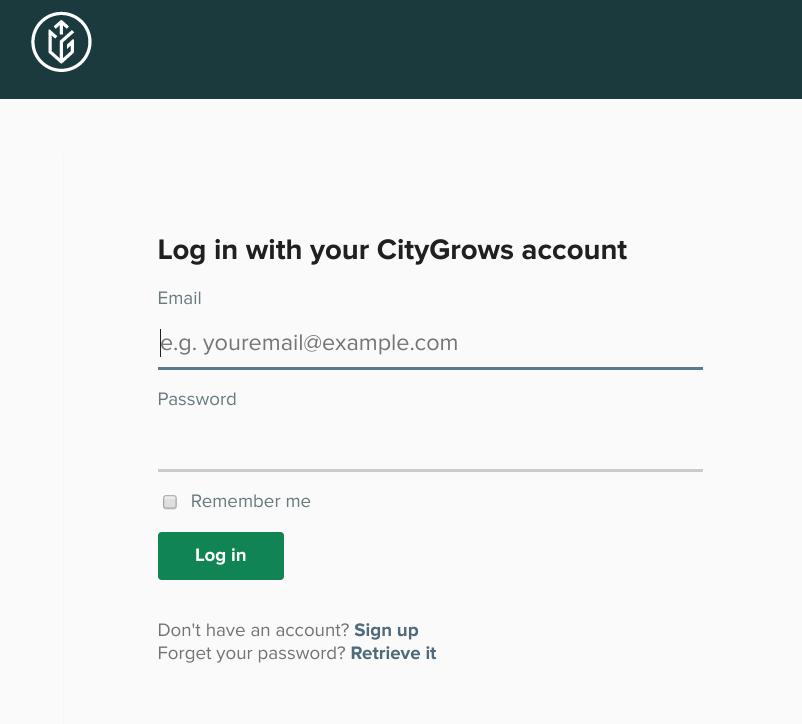 CityGrows Log in Page